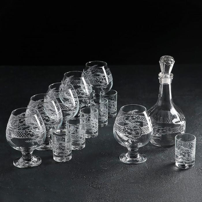 Набор питьевой с гравировкой «Ассоль», 13 предметов: графин 500 мл, стопка 50 мл 6 шт, бокал 400 мл 6 шт