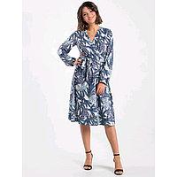 Платье с запахом женское, размер 50-52, цвет синий, белый