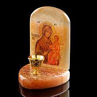 Икона «Божией Матери Избавительница», с подсвечником, селенит