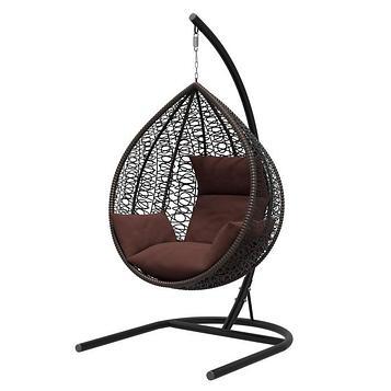 Подвесное кресло «Бароло», капля, цвет коричневый, подушка шоколад, стойка