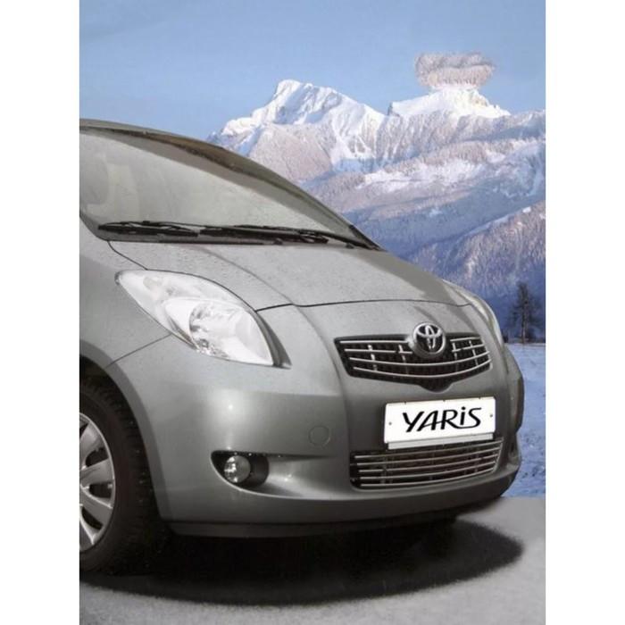 Декоративный элемент решётки радиатора d10, 1 элемент из 4 трубочек, Toyota Yaris 2005-2012, чёрный,