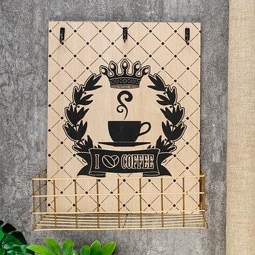 """Крючки декоративные дерево с полочкой """"Королевский кофе"""" 29х12,5х23,5 см"""