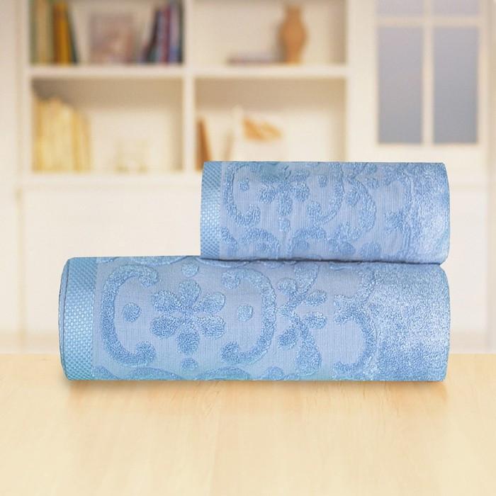 Полотенце «Бамбук жаккард», размер 50 х 90 см, цвет синий