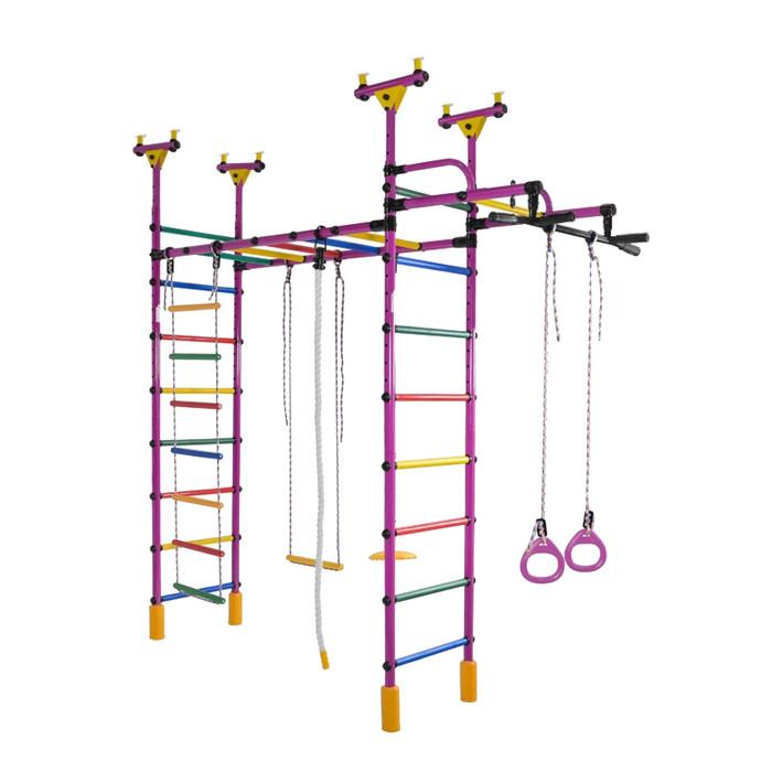 ДСК «Слонёнок», 2200 × 950 × 2350-2935 мм, цвет фиолетовый/радуга
