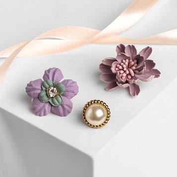 """Набор значков """"Цветы"""" пушистые, цвет розовый в золоте"""