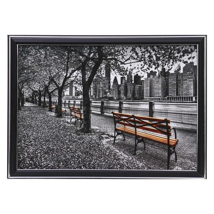 "Картина ""Городские скамеечки"" 25х35 см (28х38см)"