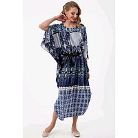 Платье женское, размер 44, цвет синий, серый