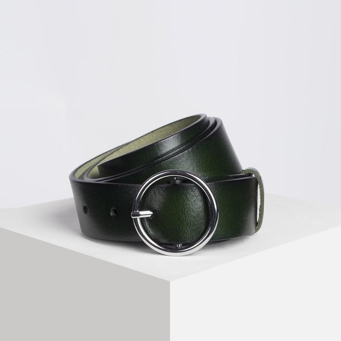 Ремень женский, ширина - 3,5 см, пряжка металл, цвет зелёный