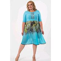 Платье женское, размер 52, цвет голубой