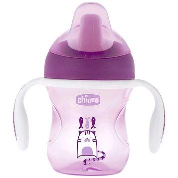 Чашка-поильник Chicco Training Cup, от 6 месяцев, цвет розово-фиолетовый, рисунок МИКС, 200 мл