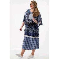Платье женское, размер 52, цвет синий, серый