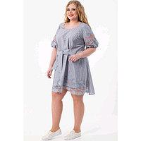 Платье женское, размер 58, цвет серый, голубой