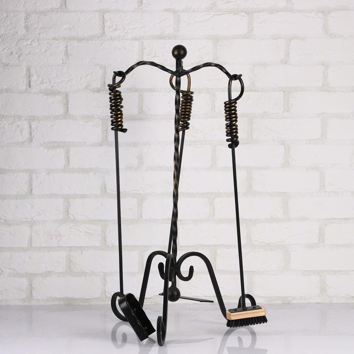 Камин набор кованый, цвет черный, 3 предмета: кочерга, совок, метёлка
