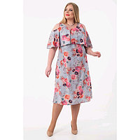 Платье женское, размер 52, цвет серый, голубой