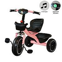 Трехколесный детский велосипед  с led фонариком музыкальными эффектами багажником и корзинкой розовый