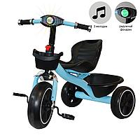 Трехколесный детский велосипед  с led фонариком музыкальными эффектами багажником и корзинкой голубой