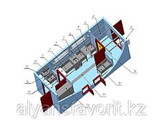 Модульная площадка убоя кроликов в контейнерном исполнении с холодильной камерой охлаждения до 100 шт.