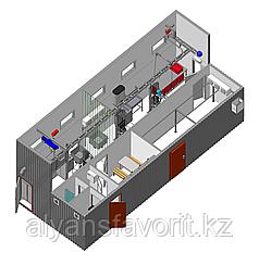 Модульная площадка убоя скота в контейнерном исполнении до 30 туш КРС в смену с холодильной камерой охлаждения