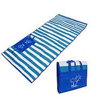Пляжный коврик сумка складной Пальмы 90 на 170 см синий