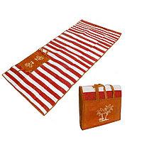Пляжный коврик сумка складной Пальмы 90 на 170 см красный