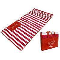 Пляжный коврик сумка складной Пальмы 120 на 170 см красный