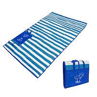 Пляжный коврик сумка складной Пальмы 150 на 170 см синий