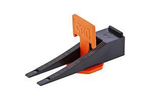 Система СИБРТЕХ 88060, выравнивания плитки свп. комплект - зажим + клин 40/40 штук (пакет пэнд)