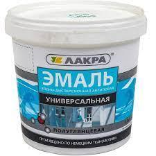 Эмаль акриловая универсальная,белая. п\глянец. 2,4 кг, Лакра