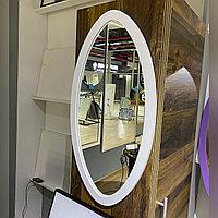 Зеркало овальное в белой раме из МДФ, 660х350мм