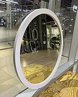 Зеркало круглое в белой раме из МДФ, d=530мм