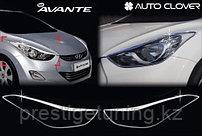 Хром накладки на передние фары на Hyundai Elantra 2010-16