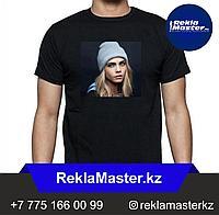 Печать фото на черную футболку