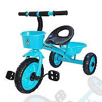 Трехколесный детский велосипед Happybaby  с багажником и корзинкой голубой