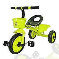 Трехколесный детский велосипед Happybaby с багажником и корзинкой зеленый