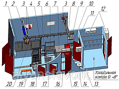 Модульная площадка убоя КРС до 8 голов в смену с камерой охлаждения на 16 четвертин