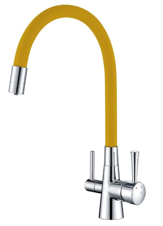 """Смеситель для кухни Lemark """"COMFORT"""",с подключением к фильтру питьевой воды LM3075C-Yellow"""