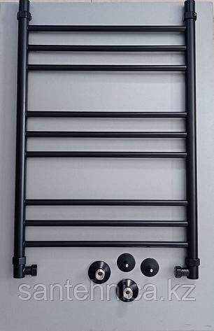 Полотенцесушитель водяной нерж. сталь ЛП (г2) 80/50 RAL9005 Черный матовый, фото 2