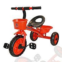 Трехколесный детский велосипед Happybaby с багажником и корзинкой красный