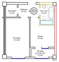 1 комнатная квартира Жк Ансар 34,5 м2, фото 1