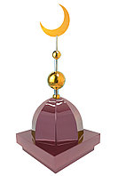 "Купол на мазар ""ШАХ"". Цвет бордо с золотым плоским полумесяцем d-230 с 2-мя шарами. На колонну 39,5 х 39,5 см."