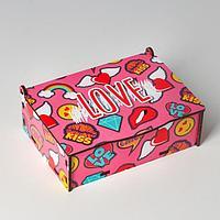 "Ящик деревянный подарочный 15х10х5 см ""LOVE, любовь, сердце, ПОП арт"", шкатулка"