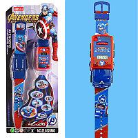 Набор детский браслет наручные часы на батарейках мини машинка световые эффекты мстители капитан Америка