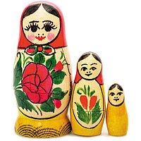 """Матрешка """"Семеновская"""", 3 куклы, 7см, дерево/роспись"""