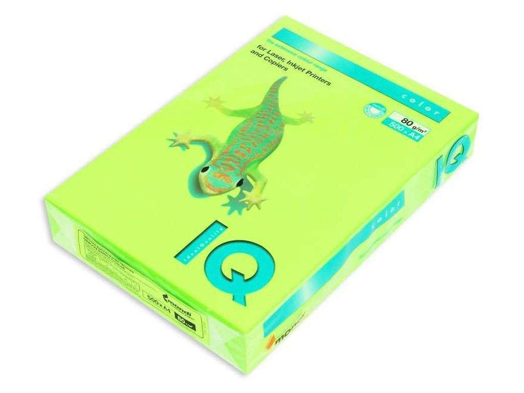 Бумага цветная IQ Color, А4, 80 г/кв.м., 500 л., зеленый неон NEOGN