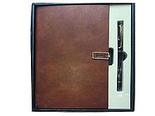 Книжка записная с ручкой подарочная Yalong А5 на кнопке, клетка, коричневая