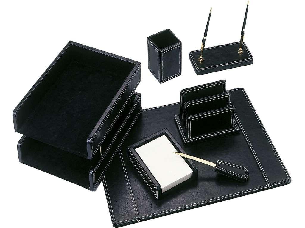 Набор настольный Good Sunrise деревянный, 7 предметов, кожзам, черный