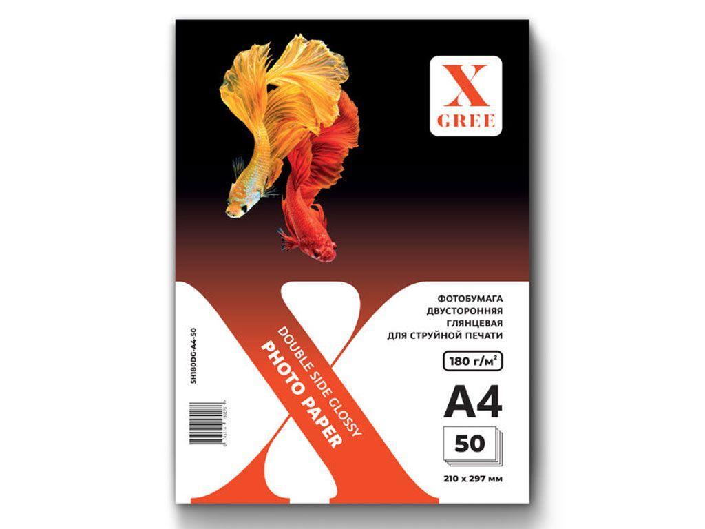 Фотобумага X-GREE А4, глянцевая двухсторонняя, 180 г/кв.м (50 листов)