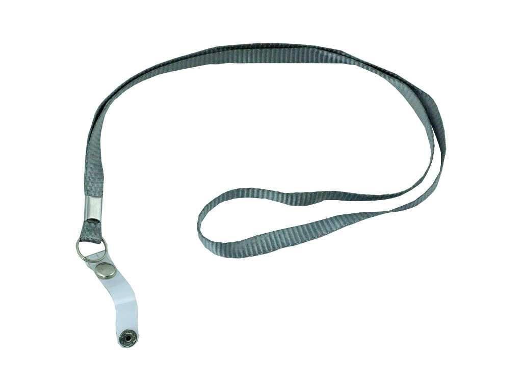 Шнурок для бейджа Shuter, зажим на кнопке, длина 45 см, серый
