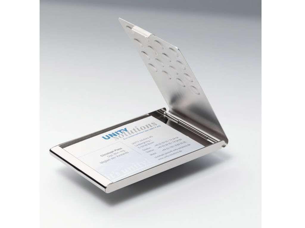 Визитница металлическая DURABLE на 20 визиток, 95 x 58 мм, карманная хромированная