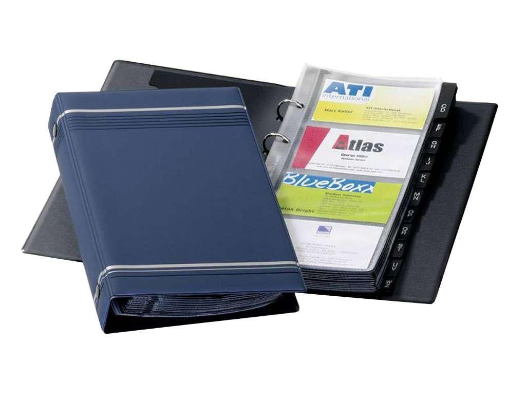 Визитница DURABLE на 200 визиток, 145 x 255 мм, PVC темно-синяя